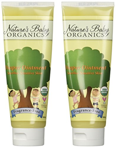 Price comparison product image Nature's Baby Organics Organic Diaper Ointment Cream,  Fragrance Free,  3-Ounce Tubes (Pack of 2)