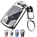 Mofei for Audi Key Fob Case Shell Cover TPU Full Protector Holder with Key Chain Compatible with Audi A4 Q7 Q5 TT A3 A6 SQ5 R8 S5 2016-2019 3 4 Buttons Smart Key Remote Keyless Entry (Silver)