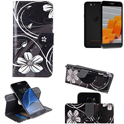 K-S-Trade® Schutzhülle Für Wileyfox Spark Hülle 360° Wallet Case Schutz Hülle ''Flowers'' Smartphone Flip Cover Flipstyle Tasche Handyhülle Schwarz-weiß 1x