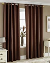 Homefab India'S Set Of 2 Royal Silky Coffee Door Curtains(Hf043) 7X4Ft.