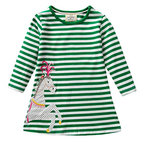 JERFER JERFER Baby Kleinkind-Mädchen Langarm Herbst Karikatur Prinzessin T-Shirt Kleid 2-6T (E, 5T)