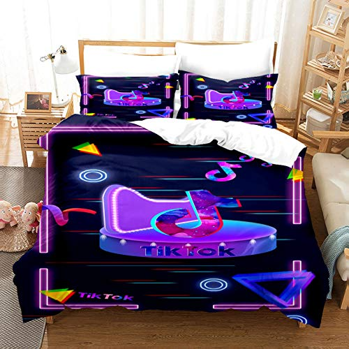 ZJJIAM Tik Tok Ropa de cama infantil, 135 x 200 cm, moderno logotipo social, juego de funda nórdica y 2 fundas de almohada para cama doble (1,135 x 200 cm + (50 x 75 cm)