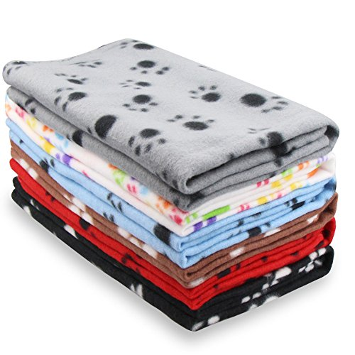 Eagmak Cute Dog Cat Fleece Blankets with Paw Prints for Kitten Puppy and Small Animals Pack of 6 (Black, Brown, Blue, Grey, red and White)