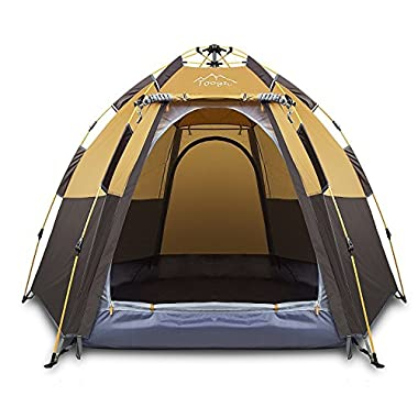 Toogh 2-3 Person Camping Tent 4 Season Backpacking Tent Automatic Instant Pop Up Tent for Outdoor Sports (Dark Brown)