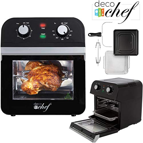Deco Chef XL 12.7 QT Oil-Free Air Fryer Multi-Function High Capacity Countertop Convection Oven, Toaster, Rotisserie All-in-One Healthy Kitchen Oven Instructional Cook Book Included