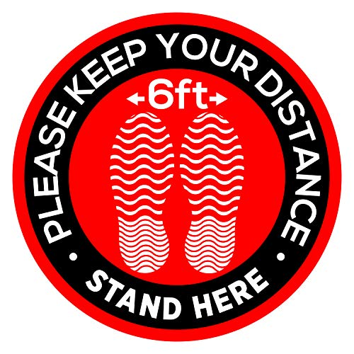6 of Social Distancing Floor Carpet Signs Stickers 12' - Keep 6 Feet Distance Vinyl Safety Decals - Please Wait Here Stand Here Sticker - Removable Adhesive Round Markers with Footprints - USA