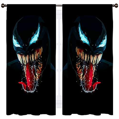 SSKJTC Venom - Cortinas opacas con diseño de boca abierta para dormitorio (140 x 160 cm), color negro