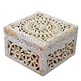 Hashcart Jewelry Organizer for Girls | Designer Soapstone Box with Floral Design(4x4 inch) - Decorative Boxes