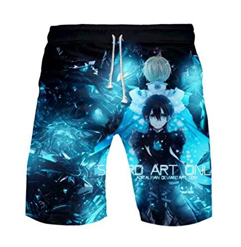 WANHONGYUE Anime Sword Art Online Kirito SAO Herren Badehose Strand Shorts 3D Druck Sommer Beach Shorts Boardshorts Swim Trunks 1099/7 S