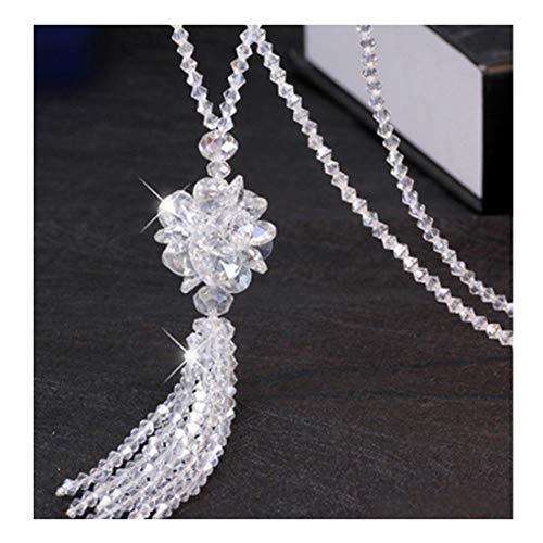 Ivyday Elegante Halskette Mehrfarbig Perlen Lange Pullover Kette für Frauen,Transparentes Weiß