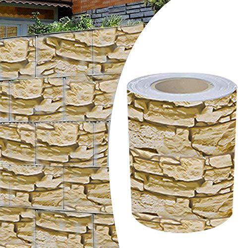 Alaskaprint Stein-Optikgrob PVC Sichtschutzstreifen Sichtschutz Gartenzaun Sichtschutzfolie Zaunfolie Zaunstreifen für doppelstabmatten Zaun 70 Meter x 19CM