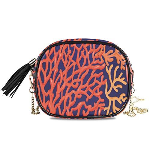 WYYWCY Color brillante Coral Ocean Life Bolsos cruzados de noche para mujer Fiesta formal Bolso para mujer Mini bolsos Decoración para niñas Bolso cruzado 7.48x5.9x3.54 pulgadas