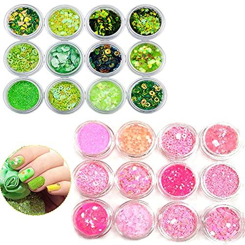 Nail Art Decorazioni Glitter, 24 Paillettes per Unghie Olografiche Glitter, Chunky Glitter, Glitter Cosmetici Viso, Decorazioni per Unghie, DIY Paillettes per Capelli,Viso,Unghie,Guance(Rosa, Verde)