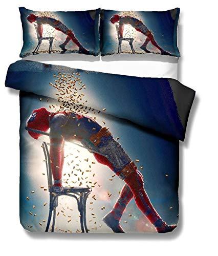 DFTY Bettwäsche-Set Bettbezug 2/3 Stück 3D Deadpool Druck Kind Bettwäsche Aus 100% Polyester Mit Kissenbezug Kind Junge (9,220X240CM)