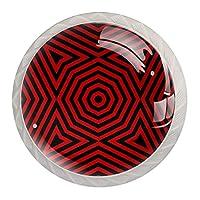 ネジ付きドレッサー引き出し用4個の白いキッチンキャビネットノブ丸い家の装飾-ラスター幾何学的な線シームレスパターンスタイリッシュ