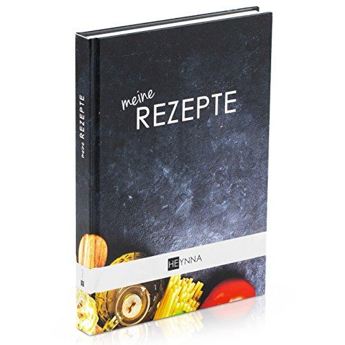 HEYNNA® Kochbuch zum Selbst Schreiben - Hardcover Rezeptbuch/Deine Lieblingsrezepte auf A5 mit Register