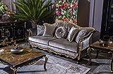Casa Padrino sofá Barroco de Lujo Plata/Negro/Oro 220 x 88