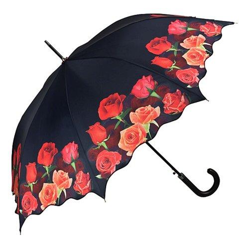 VON LILIENFELD Regenschirm Auf-Automatik Damen Stockschirm Stabil Blumen Wellenkante Rosenbouquet