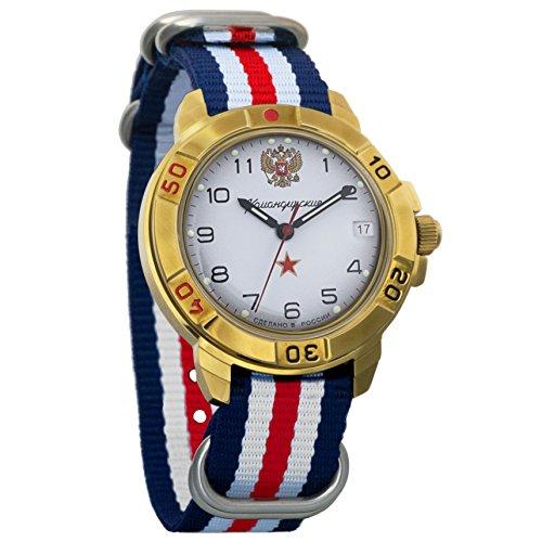 Vostok Komandirskie 2414 Reloj Militar Ruso mecánico de Cuerda Manual // 439322 (Tricolor)