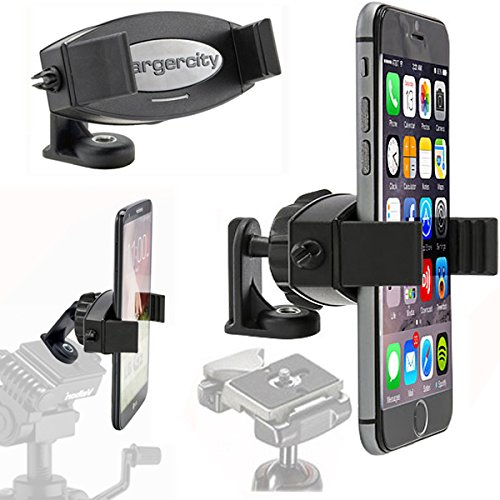 ChargerCity 360º Swivel Adjust Selfie Live Video Camera Tripod Mount & MegaGrab Easy-Adjust Smartphone Holder for Apple iPhone 12 11 XR XS Pro MAX Samsung Galaxy S20 S10 Note LG Phones