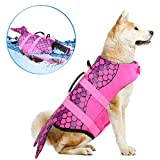 Dog Life Jackets, Ripstop Pet Floatation Life Vest for Small, Middle, Large Size Dogs, Dog Lifesaver Preserver Swimsuit for Water Safety at The Pool, Beach, Boating (XL, Pink Mermaid)