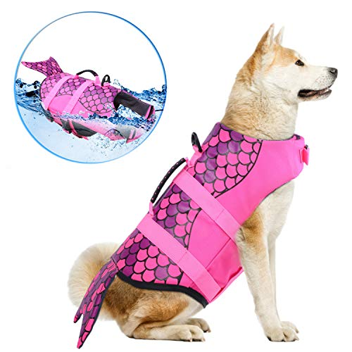 Dog Life Jackets, Ripstop Pet Floatation Life Vest for Small, Middle, Large Size Dogs, Dog Lifesaver...