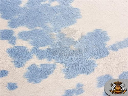 Suede Velvet Fabric Udder Madness Upholstery Cow Print 54' Wide Sold by The Yard (Blue)