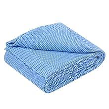 YOOFOSS Manta de Punto para Bebés de Algodón 80x100 cm Mantas Punto de Crochet Cobija Mantitas Suave y Confortable Cálida Recién Nacido niña niño Azul