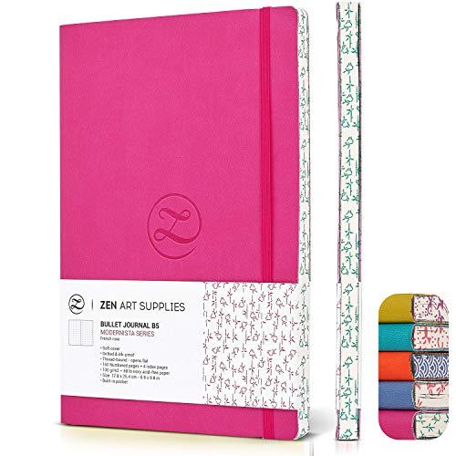 ZenART Punktiertes Notizbuch aus Kunstleder - Größe B5, 17,8 x 25,4 cm, 120g/m² Premiumpapier, Notizbuch mit lebhaften Farben, japanisches Randmotiv - Layflat, Punkt Raster zum Notieren