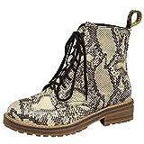 manadlian Chaussure Mode Bottine Santiags Cowboy Rock Femme Bottes Hiver Imprimé Serpent Python Verni Bottes pour Femmes en Cuir Talon Haut Bloc Bottes Hautes Femmes Classique