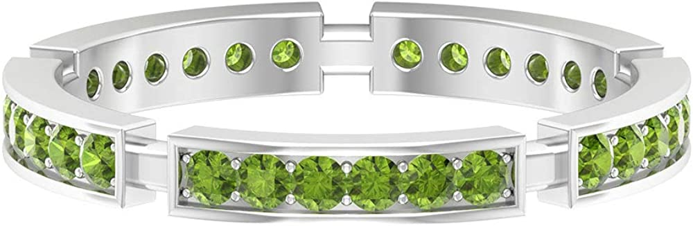 Antique Wedding Band, 0.58 CT Round Shaped Peridot Ring, Stackable Eternity Band, Green Gemstone Full Eternity Ring, August Birthstone Band Ring, 14K Gold