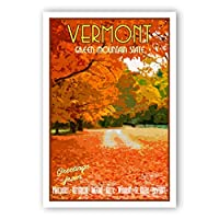 VERMONT TRAVEL POSTER postcard set of 20 identical postcards. VT state vintage style travel poster post cards. Made in USA. [並行輸入品]