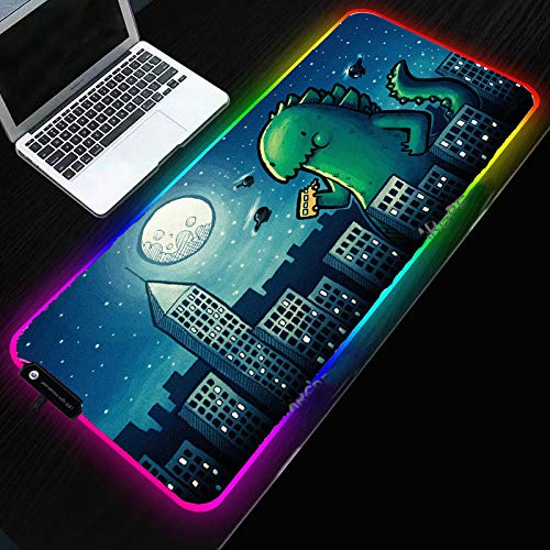 Anime Cute Dinosaur RGB Mouse Mat Personality Design LED Lighting Keyboard Colorful Desk Pad for PC Laptop Gaming Accessories-300x800x4mm_Dinosaur
