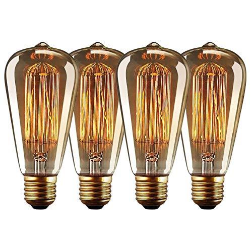 Posan Edison Vintage Glühbirne, E27 40W 220V ST64 Edison LED Lampe Warmweiß Retro Glühbirne Vintage Antike Glühbirne - 4 Stück [Energieklasse A]