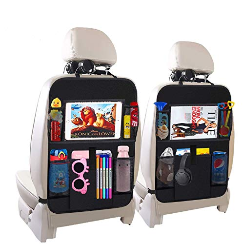 Car Backseat Organizer,Kick Mats Car Seat Back Protectors with 5 Storage Pockets+10' Touch Screen Tablet Holder for Baby Toys Book Bottle Drinks Kids Travel Accessories(2 Pack)