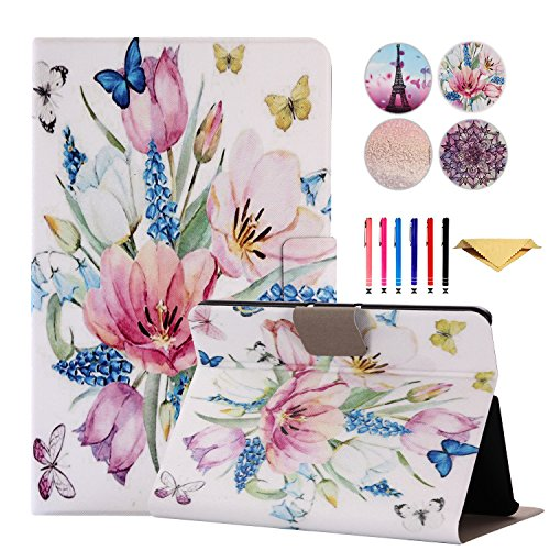 Kindle Fire HDX 7 Case, MonsDirect Ultra Slim Lightweight Leather Smart Stand Cover Case with Auto Sleep Wake Function Flip Protective Cover for Fire HDX 7 2013,Spring Flowers