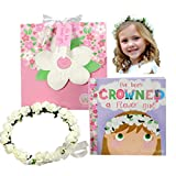 Flower Girl Gift Set- Book with Floral Crown Headband Headpiece in Adorable Gift Box - I've Been Crowned a Flower Girl!