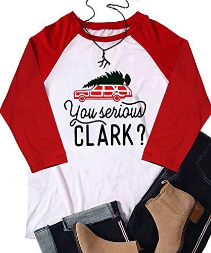 Plus Szie You Serious Clark Baseball T-Shirt Womens Christmas Truck Tree 3/4 Raglan Sleeve Casual Tops Tees Size XXL (White)