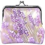 Moneda de Lavanda púrpura Monedero de Campo Floral Monederos Monedero Bolsa de Cuero PU Portatarjetas de Dinero