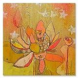Wheatpaste Art colectiva Lotus Dorado Lienzo Pared Arte por Jennifer Mercede, 60cm por 60cm