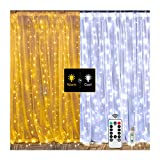 2 Colors Twinkle Star Window Curtain String Light, White & Warm White 300LED Fairy Starry Lights USB Powered Remote & Timer Waterfall Fairy Lights for Bedroom Wedding Party Wall