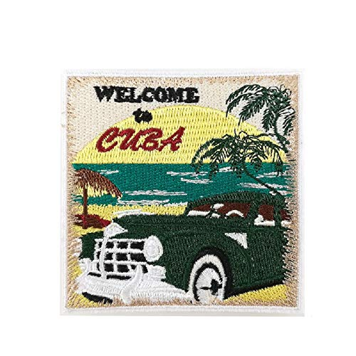 Vintage Car Welcome to Cuba Full Embroidered Iron on Patches Beach Vacation Travel Souvenir Retro Badge