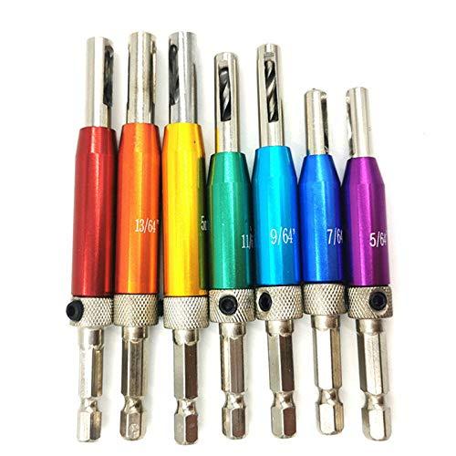 Drill Bit 7+1Pcs HSS Door Self-Centering Hinge Drill Bit Set Hinge Tapper Core Screw Hole Puncher Woodworking Tools