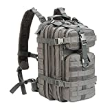 WolfWarriorX Small Tactical Backpack Military Assault Pack Rucksack Molle Bag (Gray)
