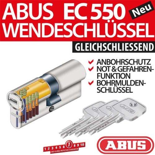Abus EC 550 Schloss mit Profilzylinder mit 3Schlüsseln je Zylinder