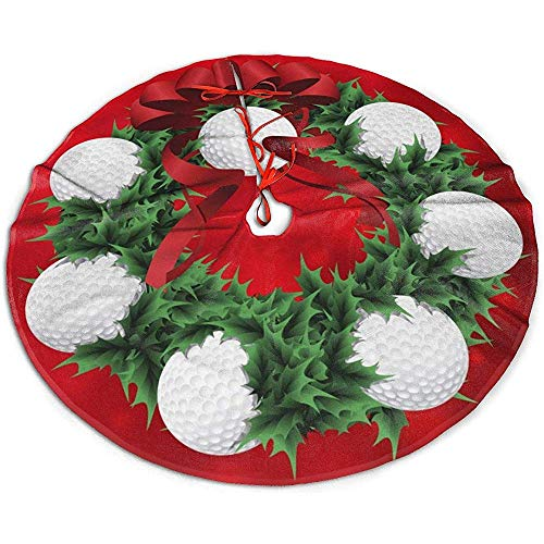 Traditional Holiday Christmas Tree Skirt With Golf Christmas Wreath Design,91Cm (36In)