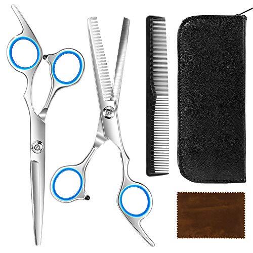 MixMart Profi Haarschere Set, Rostfrei Friseurschere Effilierschere zum Ausdünnen und Strukturieren Scharfe Schere Haare Set Haarschnitt für Salon, Friseur oder zu Hause