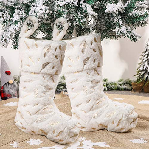 Christmas Stockings, 2 Pcs 22 inches Feather Embroidery Plush Faux Fur Christmas Stocking, Christmas Decorations Family Holiday Xmas Party Accessory