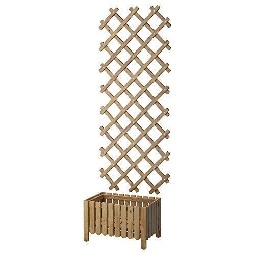 ZigZag Trading Ltd Ikea ASKHOLMEN Blumenkasten mit Rankgitter, für den Außenbereich, Grau/Braun gebeizt