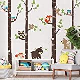 Simple Shapes Birch Trees with Cute Forest Animals Wall Decal - Scheme A - 96' (243 cm) Tall Trees